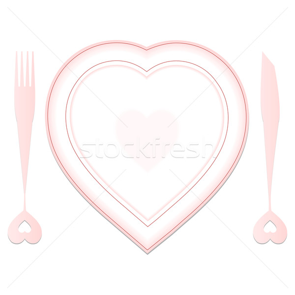 Stock photo: valentine plate and dishes