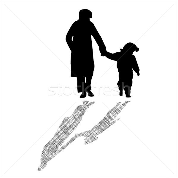 woman and child silhouettes with striped shadow Stock photo © robertosch