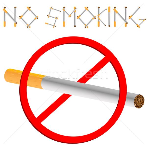 Dohányozni tilos felirat fehér absztrakt művészet illusztráció Stock fotó © robertosch