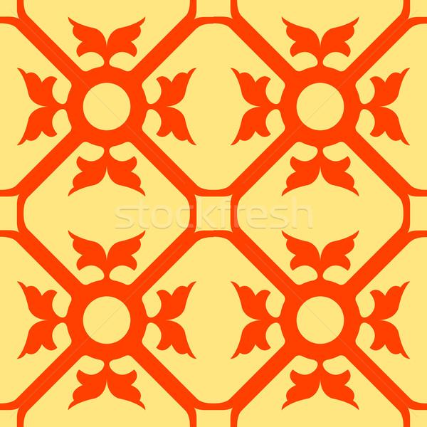 Foto stock: Laranja · flores · sem · costura · textura · abstrato · padrão