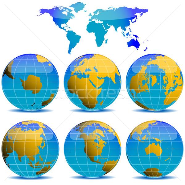 Мир глобусы коллекция белый аннотация вектора Сток-фото © robertosch