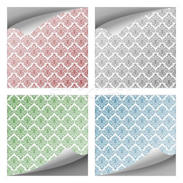 Damaszt fürtös papír jegyzetek gyűjtemény fehér Stock fotó © robertosch