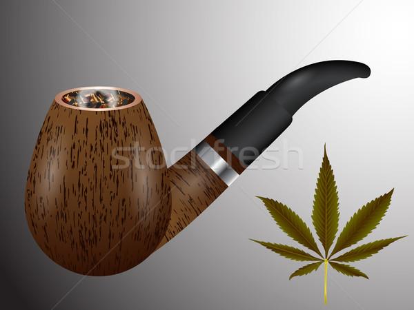 Fából készült dohányzás cső cannabis levél absztrakt Stock fotó © robertosch