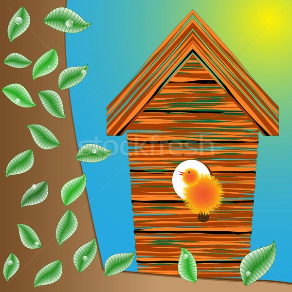 ストックフォト: 鳥 · 家 · ツリー · 葉 · 水滴 · 抽象的な