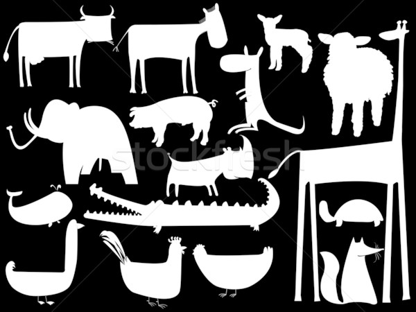 animal white silhouettes isolated on black background Stock photo © robertosch