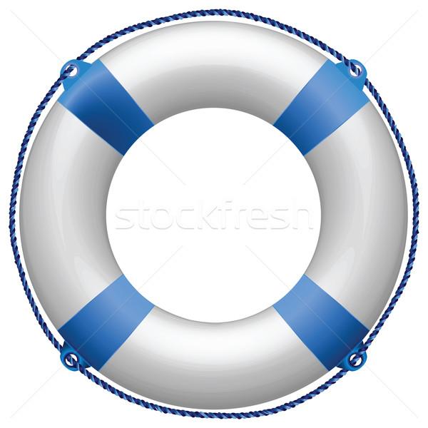 Mentőöv kék fehér absztrakt vektor művészet Stock fotó © robertosch