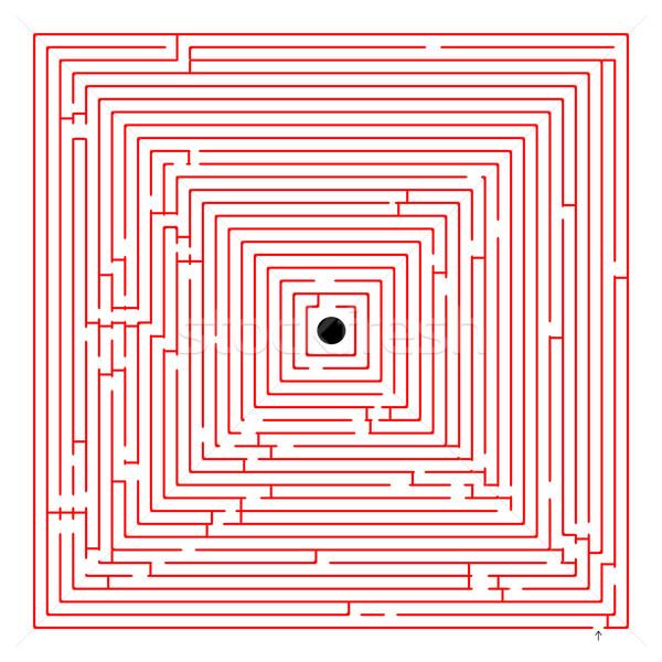 Tér piros labirintus absztrakt művészet illusztráció Stock fotó © robertosch