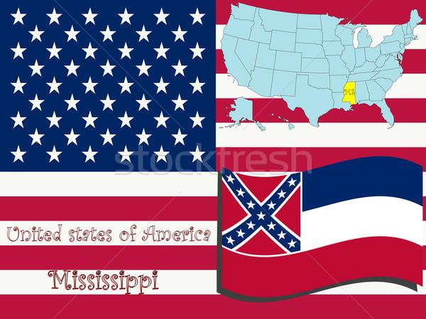 Mississippi illusztráció absztrakt vektor művészet térkép Stock fotó © robertosch
