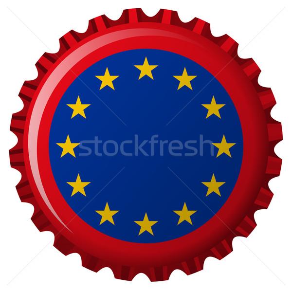 Európai szövetség zászló üveg sapka izolált Stock fotó © robertosch