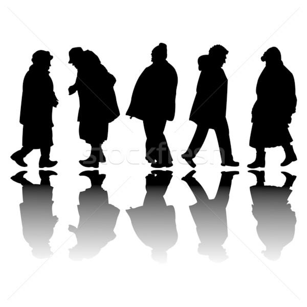 Idős emberek fekete sziluettek absztrakt művészet illusztráció Stock fotó © robertosch
