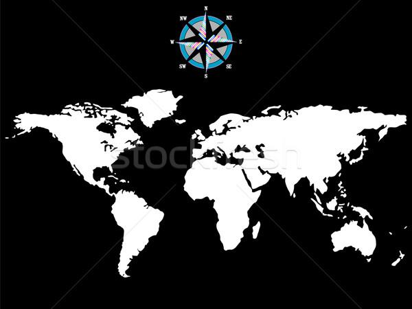 商业照片: 白· 世界地图 ·风· 玫瑰 · 孤立 · 黑白