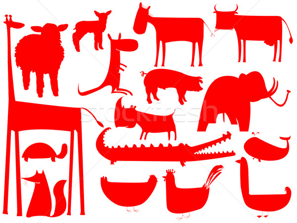 animal red silhouettes isolated on white background Stock photo © robertosch