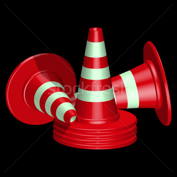 Stok fotoğraf: Kırmızı · trafik · siyah · soyut · vektör · sanat