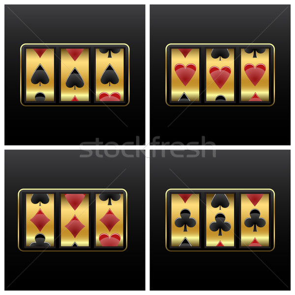Cartas de jogar caça-níqueis branco abstrato vetor arte Foto stock © robertosch