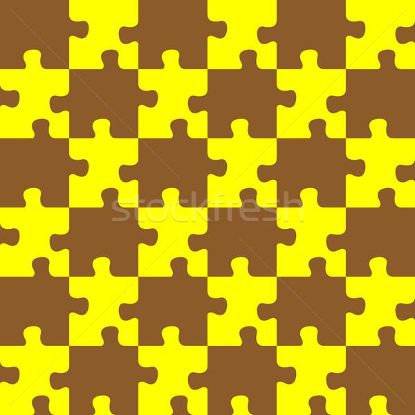 Puzzle barna citromsárga színek végtelenített absztrakt Stock fotó © robertosch