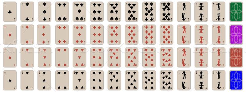 Teljes szett gyerekek játszanak kártyák absztrakt művészet Stock fotó © robertosch