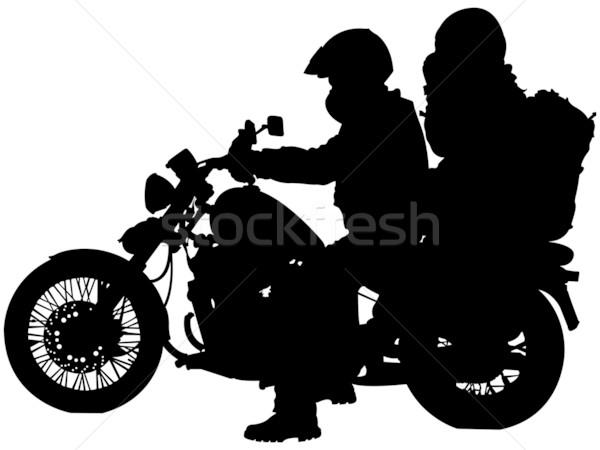 Motorfiets silhouetten witte abstract vector Stockfoto © robertosch
