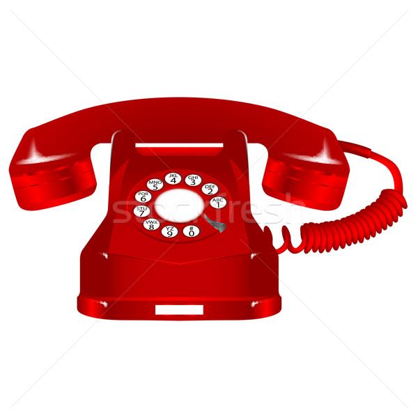 ретро красный телефон белый аннотация вектора Сток-фото © robertosch