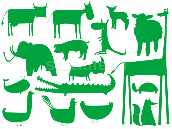 animal green silhouettes isolated on white background Stock photo © robertosch