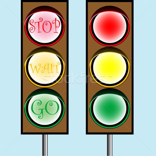 Trafik ışıkları karikatür soyut vektör sanat örnek Stok fotoğraf © robertosch