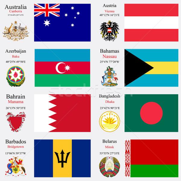 Сток-фото: Мир · флагами · набор · Австралия · Австрия · Азербайджан