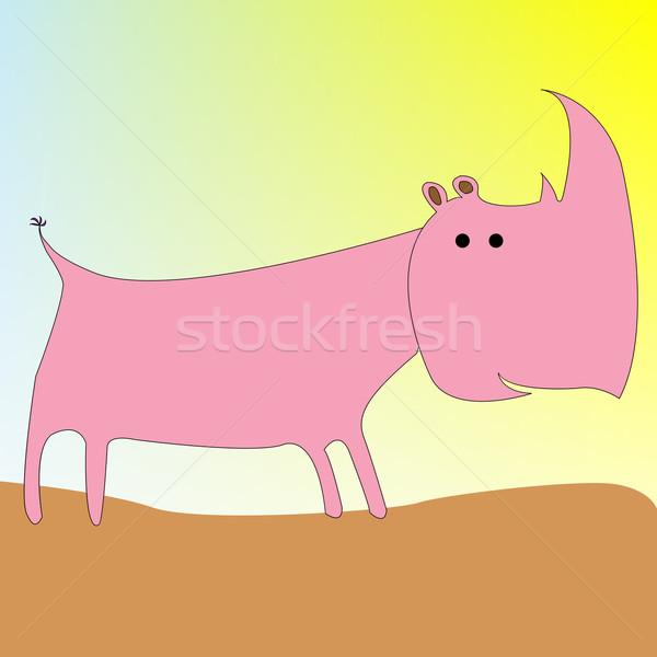 Orrszarvú rajz vektor művészet illusztráció macska Stock fotó © robertosch