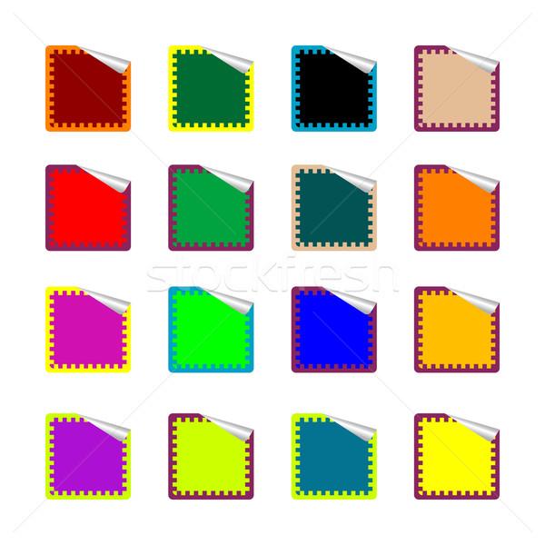 Téglalap színes matricák izolált fehér vektor Stock fotó © robertosch