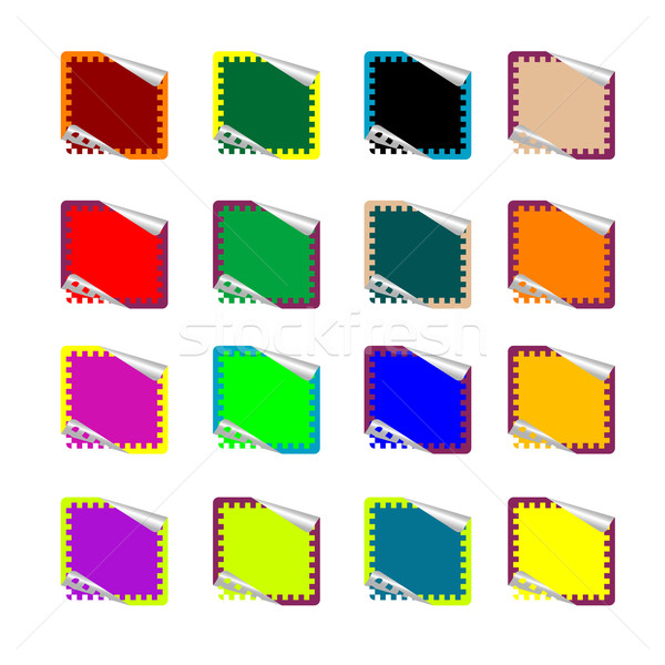 double rounded rectangle colored stickers isolated on white Stock photo © robertosch