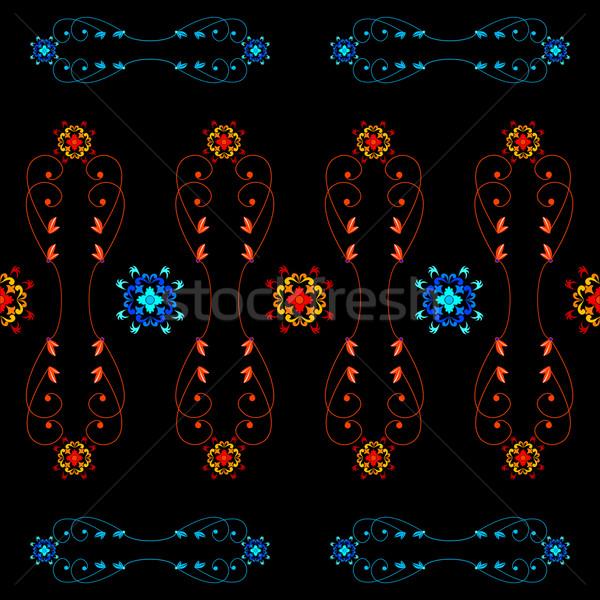 Végtelenített virágok minta vektor művészet illusztráció Stock fotó © robertosch