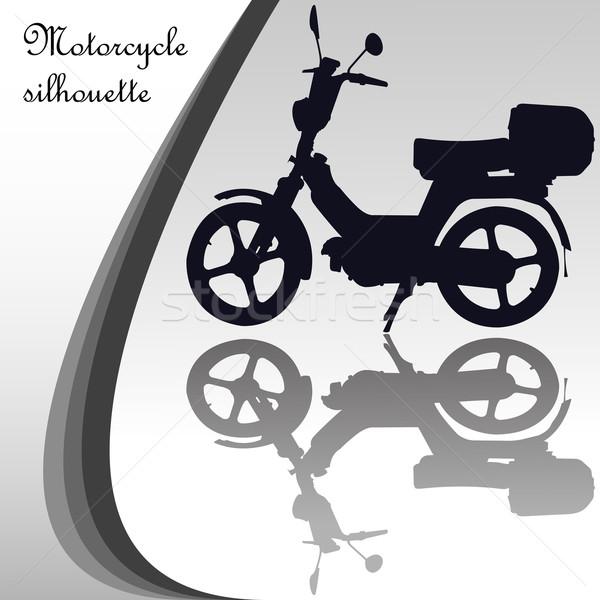 Stock fotó: Motorkerékpár · sziluett · absztrakt · vektor · művészet · illusztráció