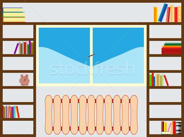 Boekenplank rond venster abstract vector kunst Stockfoto © robertosch