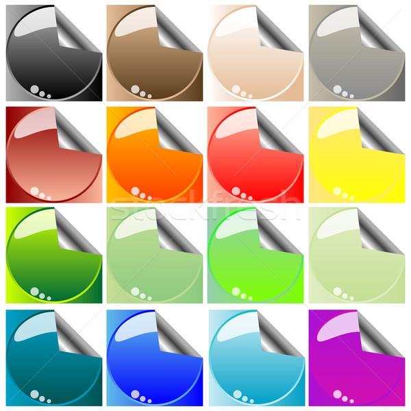Rechteckige abstrakten Etiketten isoliert weiß Kunst Stock foto © robertosch