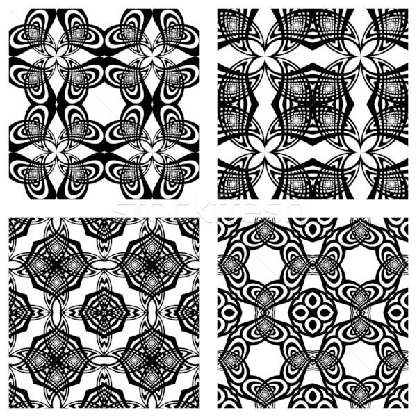 Feketefehér végtelenített minták absztrakt textúrák vektor művészet Stock fotó © robertosch