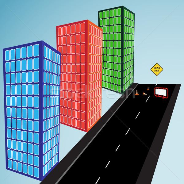 3D épületek utca halott befejezés absztrakt Stock fotó © robertosch