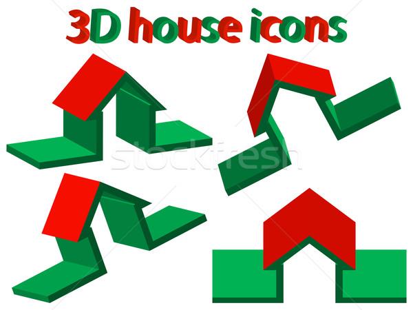 3D ház ikonok fehér absztrakt vektor Stock fotó © robertosch