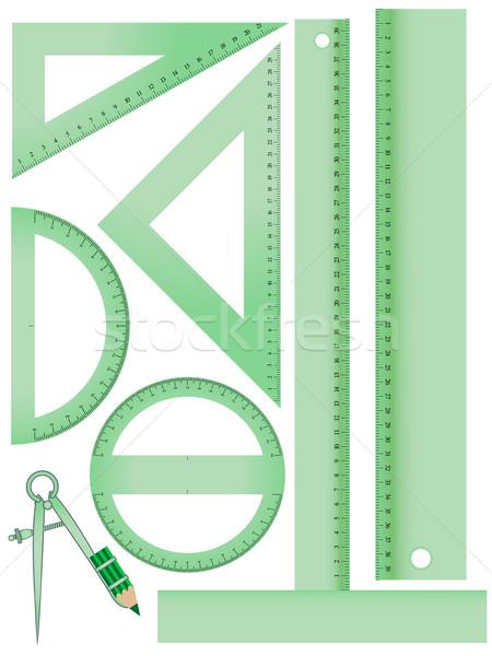 Escolas medição conjunto branco abstrato vetor Foto stock © robertosch