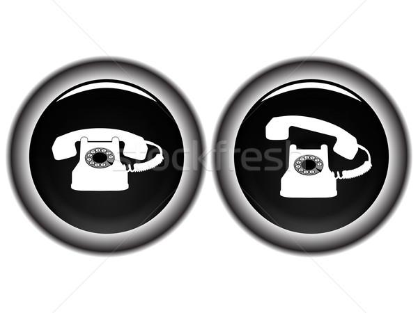 telephone black icons against white Stock photo © robertosch