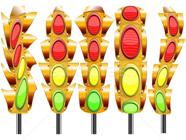 Stilize trafik ışıkları dört ışıklar beyaz soyut Stok fotoğraf © robertosch