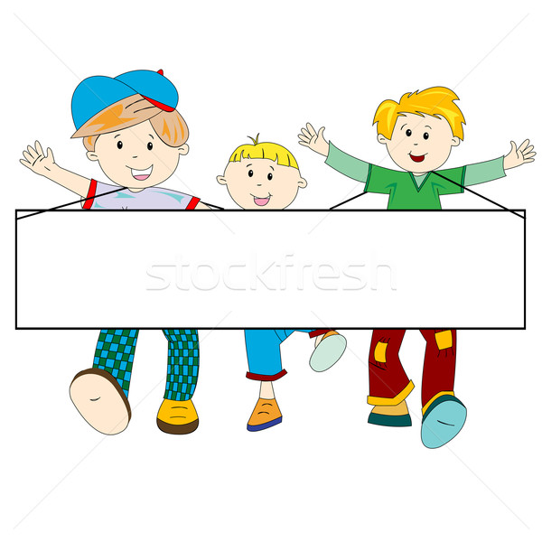 Stockfoto: Gelukkig · kinderen · cartoon · banner · witte · abstract