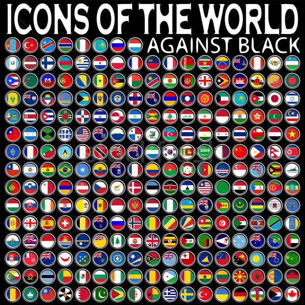 Iconen wereld zwarte abstract vector kunst Stockfoto © robertosch