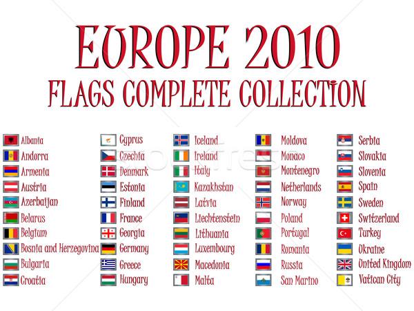 Foto stock: Europa · 2010 · bandeiras · coleção · branco · abstrato