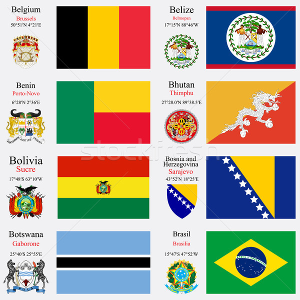 Сток-фото: Мир · флагами · набор · Бельгия · Белиз · Бенин