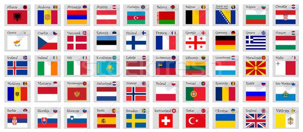 Europa postzegels witte abstract vector kunst Stockfoto © robertosch