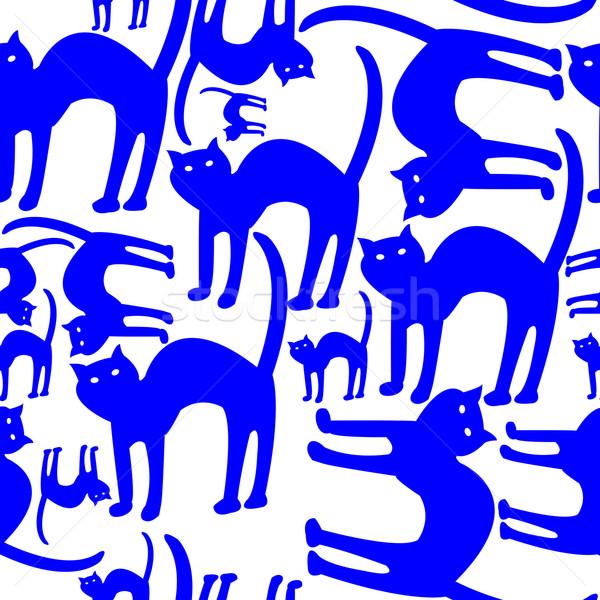 синий кошек шаблон изолированный белый вектора Сток-фото © robertosch