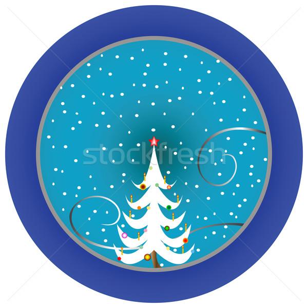 Karácsonyfa kék medál vektor művészet illusztráció Stock fotó © robertosch