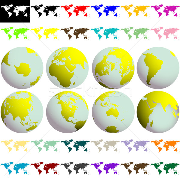 earth globes and maps against white Stock photo © robertosch