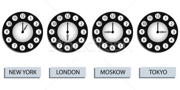 Stockfoto: Tijd · klokken · vier · verschillend · landen · witte