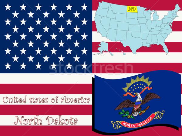 North Dakota illustratie abstract vector kunst kaart Stockfoto © robertosch