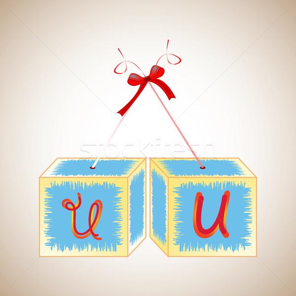 Kockák ábécé absztrakt művészet illusztráció oktatás Stock fotó © robertosch