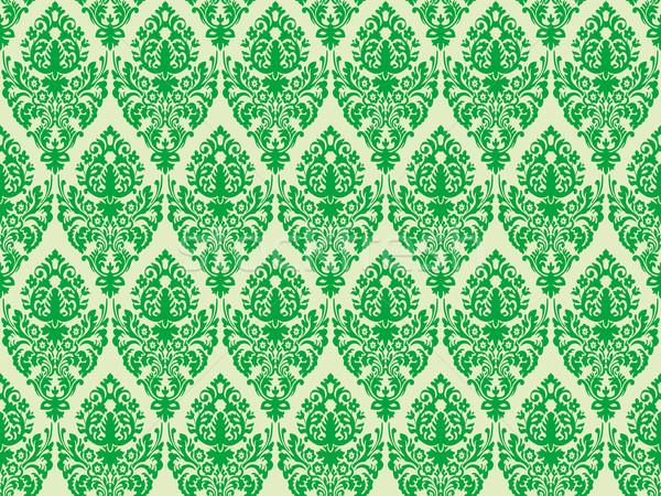 Zielone adamaszek bezszwowy tekstury streszczenie wzór Zdjęcia stock © robertosch